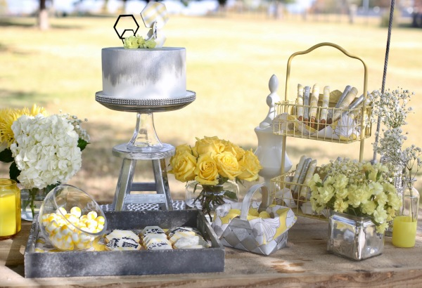 outdoor yellow and silver sweet table
